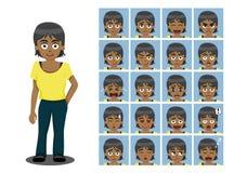 La hermana afroamericana Cartoon Emotion hace frente al ejemplo del vector Imagenes de archivo