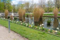 La hermosa vista de los jardines de Luxemburgo en París Foto de archivo libre de regalías