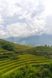 La hermosa vista de montañas contiene campos colgantes Imagen de archivo