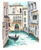 La hermosa vista a uno de los canales venecianos imagen de archivo libre de regalías