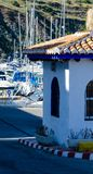LA HERRADURA, SPAIN - MAY 26, 2018  Luxury boats and apartments. LA HERRADURA, SPAIN - MAY 26, 2018 A beautiful marina with luxury yachts and motor boats in the Stock Images