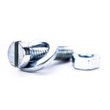 La herramienta hexagonal de acero de plata del tornillo se opone macro imagen de archivo libre de regalías