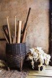La herramienta para tejer el wooll Foto de archivo