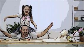 La hija feliz y alegre se est? sentando en los hombros y el baile de su padre El padre se est? sentando debajo de la tabla de mad