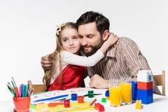 La hija y el padre que unen Fotografía de archivo libre de regalías
