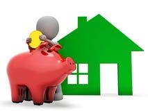 La hipoteca del carácter representa Real Estate y la actividad bancaria de la representación 3d Imagen de archivo libre de regalías