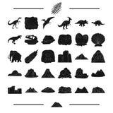 La historia, los restos, el estudio y el otro icono del web en estilo negro siglo, cráneo, iconos de la ecología en la colección  libre illustration