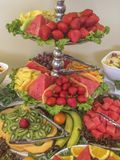 La historia que sorprende tres deliciosa todos usted puede comer la comida fría de la fruta Fotografía de archivo libre de regalías
