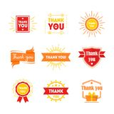 La historieta agradece le Badges o el sistema de etiquetas Vector Imágenes de archivo libres de regalías