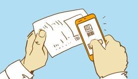 La historieta da el código de Scaning QR en un control por el teléfono Foto de archivo libre de regalías