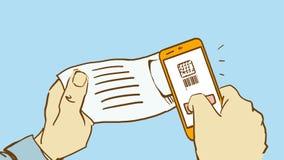 La historieta da el código de Scaning QR por el teléfono Imagen de archivo libre de regalías