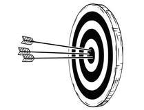 La historieta de la blanco o del golpe con tres flechas del arco golpea en el centro ilustración del vector