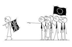 La historieta de Brexit, Gran Bretaña o Reino Unido o Reino Unido está dejando la unión europea o la UE sin el tratado firmado Imagen de archivo
