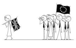 La historieta de Brexit, Gran Bretaña o Reino Unido o Reino Unido está saliendo de la unión europea o de la UE Fotografía de archivo
