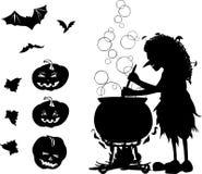 La historieta de Halloween fijó con las siluetas de la bruja, palo, calabaza stock de ilustración
