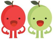 La historieta de la impresión garabatea al monstruo plano de las manzanas de los agrios del sistema de color del verano feliz stock de ilustración