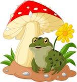 La historieta de la rana se sienta debajo de seta Imagen de archivo libre de regalías