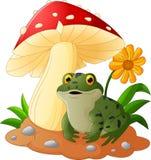 La historieta de la rana se sienta debajo de seta Fotos de archivo libres de regalías