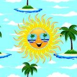 La historieta de Sun del verano con las gafas de sol vara el ejemplo inconsútil del vector del modelo de las reflexiones stock de ilustración