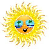 La historieta de Sun del verano con las gafas de sol vara el ejemplo del vector de las reflexiones ilustración del vector