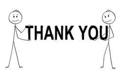 La historieta del hombre sonriente feliz o el hombre de negocios Holding Sign con le agradece mandar un SMS ilustración del vector