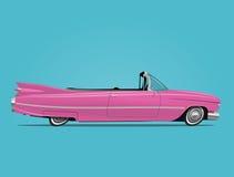 La historieta diseñó el ejemplo del vector del cabriolé retro rosado del coche Fotos de archivo libres de regalías