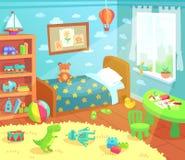 La historieta embroma el interior del dormitorio El sitio de niños casero con la cama del niño, los juguetes del niño y la luz de stock de ilustración