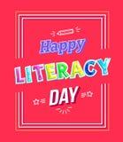 La historieta feliz del día de la instrucción pone letras a saludar el cartel libre illustration