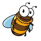 La historieta feliz del vuelo manosea o la abeja de la miel Fotos de archivo libres de regalías