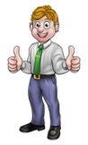 La historieta feliz manosea con los dedos encima de hombre de negocios Imágenes de archivo libres de regalías