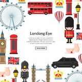 La historieta Londres del vector ve el ejemplo Atracciones de Inglaterra libre illustration