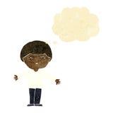 la historieta molestó al hombre con la burbuja del pensamiento Imagenes de archivo