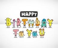 La historieta pone letras a la tarjeta de cumpleaños libre illustration