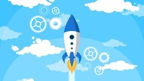 La historieta Rocket Fly Blue Sky White se nubla completamente ilustración del vector