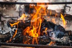 La hoguera, en la cual se fríe la comida, kebabs, quemaduras con una llama anaranjada hermosa imagen de archivo libre de regalías