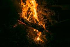 La hoguera en la madera, las luces rojas y la quemadura alojan fotografía de archivo