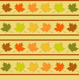 La hoja de arce en las filas modelo inconsútil, hojas wallpaper Imagenes de archivo