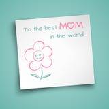 La hoja de papel en blanco cuadrada con ongratulations del  de Ñ manda un SMS y flor sonriente divertida de la cara adornada en  Imágenes de archivo libres de regalías