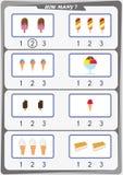 La hoja de trabajo para los niños, cuenta el número de objetos, aprende los números 1, 2, 3, Fotografía de archivo