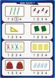 la hoja de trabajo para los niños de la guardería, cuenta el número de objetos, aprende los números 1, 2, 3, 4 Imagenes de archivo