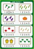 la hoja de trabajo para los niños de la guardería, cuenta el número de objetos, aprende los números 1, 2, 3, 4, 5 Fotografía de archivo