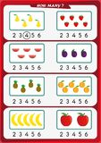 La hoja de trabajo para los niños de la guardería, cuenta el número de objetos, aprende los números 1, 2, 3, 4, 5, 6 Fotografía de archivo libre de regalías