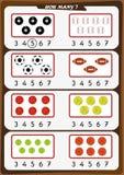 la hoja de trabajo para los niños de la guardería, cuenta el número de objetos, aprende los números 1, 2, 3, 4, 5, 6, 7 Imagen de archivo