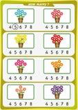 la hoja de trabajo para los niños de la guardería, cuenta el número de objetos, aprende los números 1, 2, 3, 4, 5, 6, 7 Imágenes de archivo libres de regalías