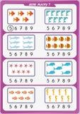 La hoja de trabajo para los niños de la guardería, cuenta el número de objetos, aprende los números 1, 2, 3, 4, 5, 6, 7 8 9 Fotos de archivo