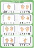 La hoja de trabajo para los niños de la guardería, cuenta el número de objetos, aprende los números 1, 2, 3, 4, 5, 6, 7 8 9 10 Imagenes de archivo