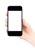 La holding Apple Iphone con lo schermo in bianco ha isolato Fotografie Stock Libere da Diritti