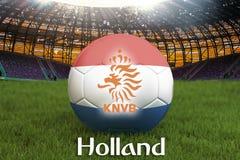 La Hollande sur la langue néerlandaise sur la boule d'équipe de football sur le grand fond de stade rendu 3d Concep néerlandais d illustration de vecteur