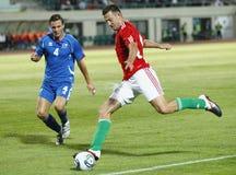 La Hongrie contre des parties de football de l'Islande Photographie stock libre de droits