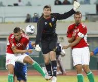 La Hongrie contre des parties de football de l'Islande Image stock